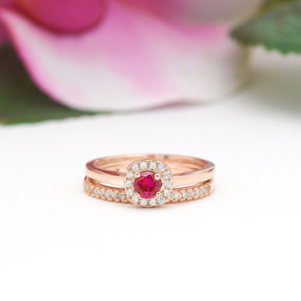 Round Cut Square Halo Ruby Ring Set in Rose Gold