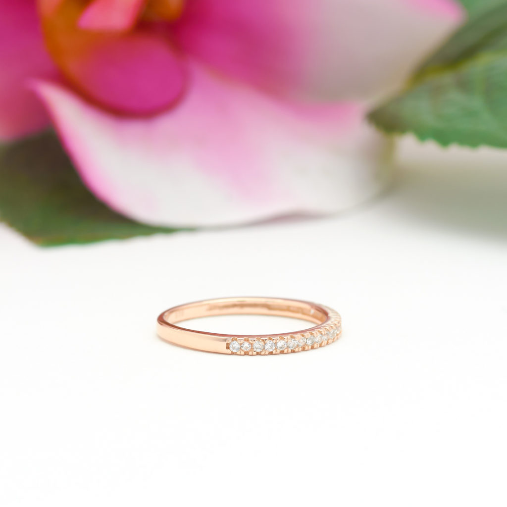 2mm Half Eternity Band in Rose Gold