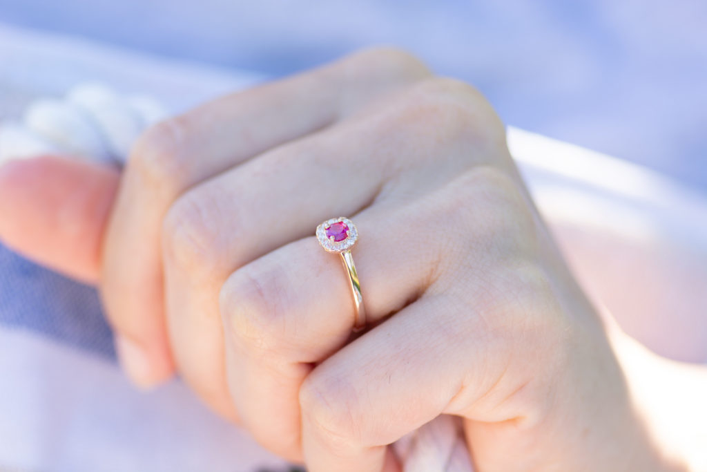 Round Cut Square Halo Ruby Ring