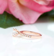 4 Prong Round Cut Engagement Ring in Rose Gold