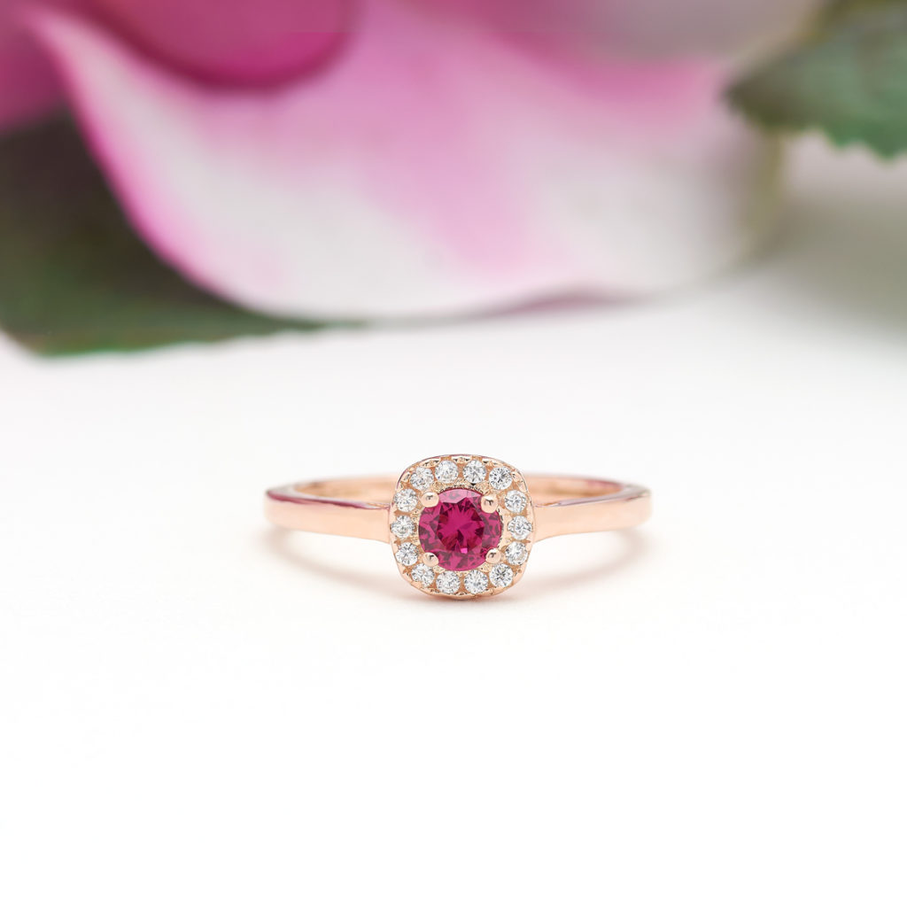 Round Cut Square Halo Ruby Ring in Rose Gold