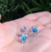 Blue Opal Turtle Earrings