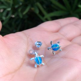 Blue Opal Turtle Earrings